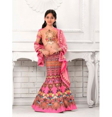 Pink Silk Patch Designer Girls Lehenga Choli