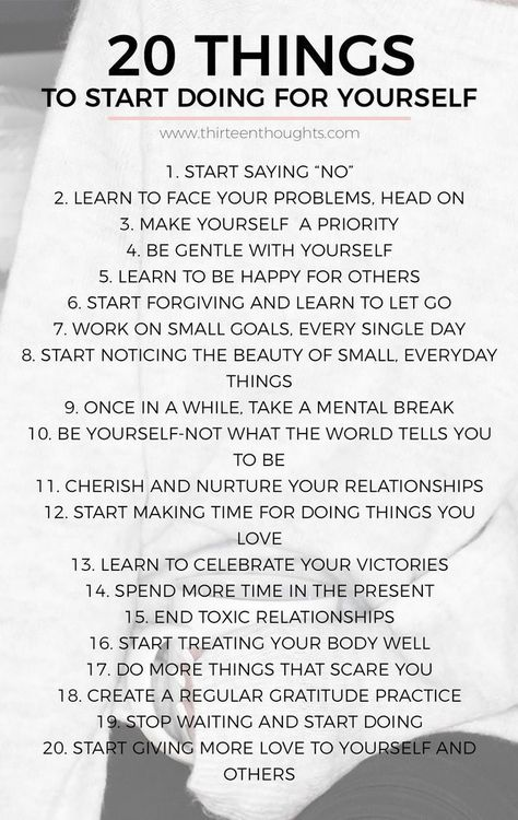 20 Things to start doing for yourself. Personal growth. Personal growth tips. Self improvement. Self improvement ideas. Self improvement tips.