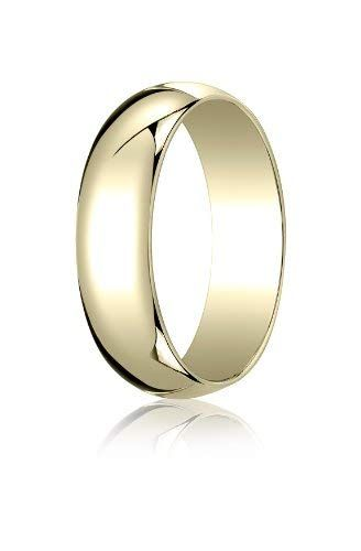 Mens 14K Yellow Gold 6mm Traditional Dome Oval Wedding Band Ring