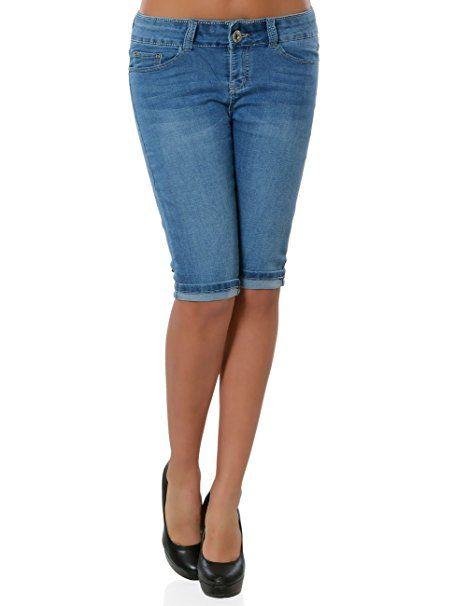 Damen High Waist Jeans Kurze Sommerhose Capri Hose Knielang
