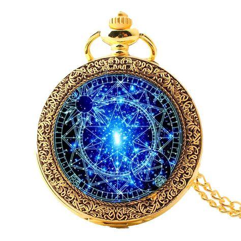 Stained Glass Blue Magic Circle Pocket Watches-Vintage Quartz Watch Fob,Sakura Magic Gift For Him Her+Gift Box Glasmalerei Bronze Taschenuhren-Steampunk Blue Magic Round