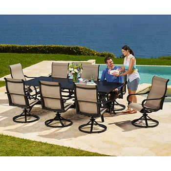 Whitehall 9 Piece Sling Dining Set Outdoor Lounge Set Cheap Patio Furniture Outdoor Furniture Sets