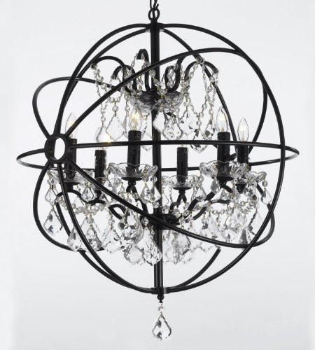 Foucault S Orb Wrought Iron Crystal Chandelier Lighting