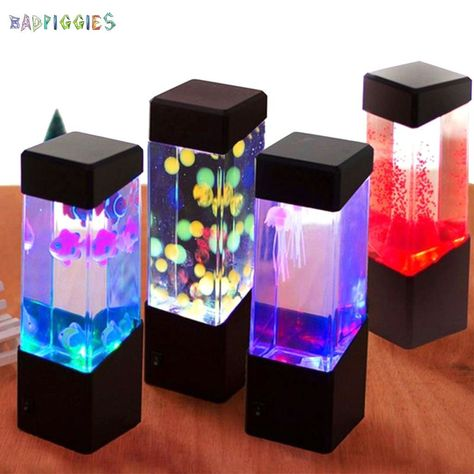 Led Aquarium, Jellyfish Aquarium, Aquarium Lighting, Mood Light, Led Night Light, Night Lights, Light Led, Fish Tank Table, Jellyfish Lamp