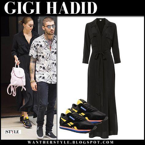 Gigi Hadid in black maxi dress and black sneakers #fashion