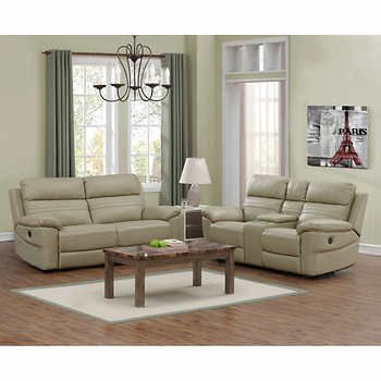 Rockhill Beige Top Grain Leather Power Reclining Sofa And Loveseat