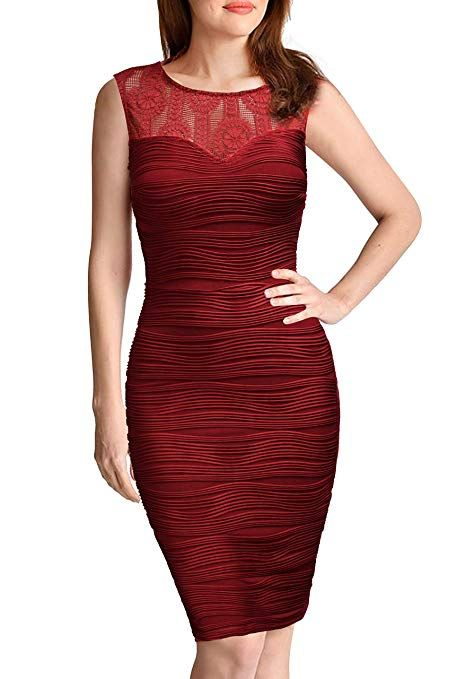 1b0ee238143a2 FORTRIC Women Sleeveless Top Lace V Back Sexy Bodycon Cocktail Work ...