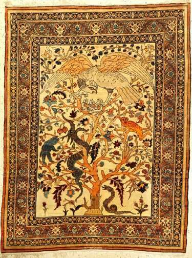 Fine Unique Tabriz Hadji Jalili Rug Dragon Tree Of Life Rugs Dragon Tree Rugs On Carpet