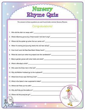 Nursery Rhyme Quiz - baby shower game