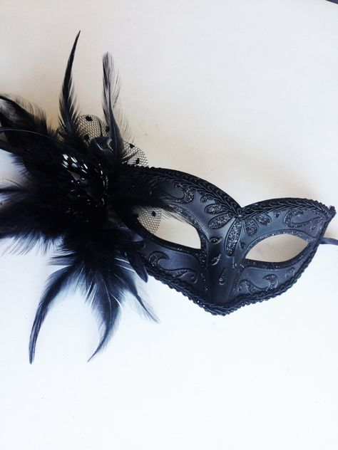 Black theme Masquerade mask Pair Feather Flapper Costume birthday Prom Party