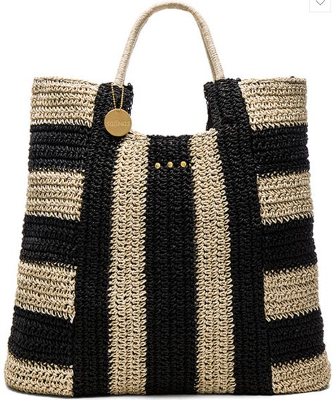 Woven Rafia Tote in Black and Cream Stripe