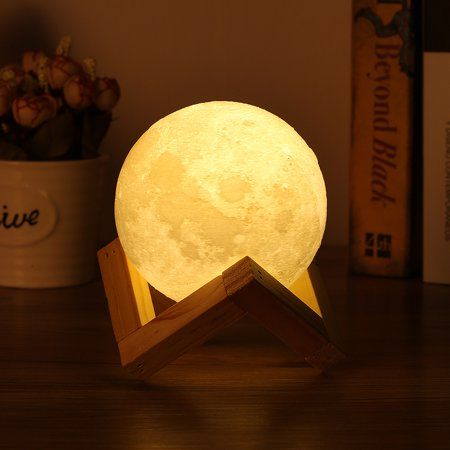 7 1 Large Moon Light 3d Printing Moon Lunar Led Night Light Lamp With Wooden Stand White Walmart Com Moon Light Lamp Decorative Night Lights Lamp