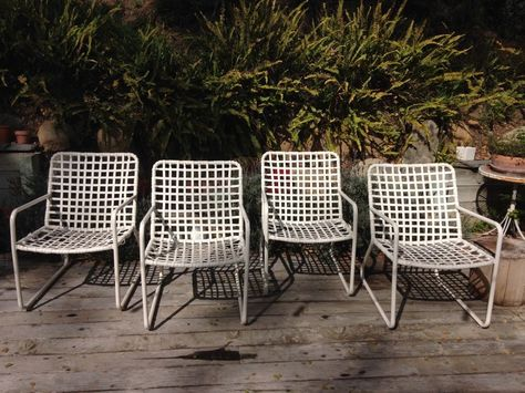 Chairs Set Walter Lamb Brown Jordan Sleigh Low Lounge Chair Ottoman Patio Mid Century Periods & Styles