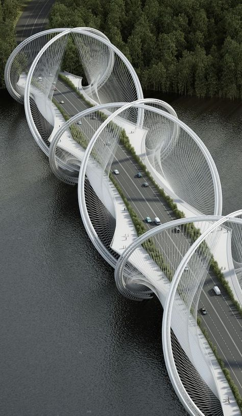 Architecture firm Penda and engineering firm Arup have teamed up to undertake the ambitious goal of redesigning the suspension bridge, with their newly commissioned project to build the San Shan Bridge in China. // Get to know more Architecture Projects > Cultural Architecture, Baroque Architecture, Blog Architecture, Futuristic Architecture, Beautiful Architecture, Landscape Architecture, Bridges Architecture, Infrastructure Architecture, Computer Architecture