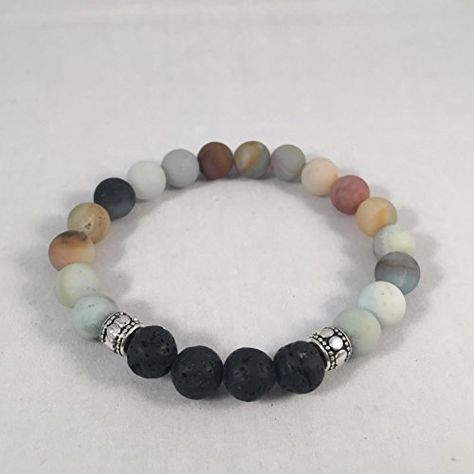 Amazonite and Lava Rock Aromatherapy Diffuser Bracelet (matte finish)