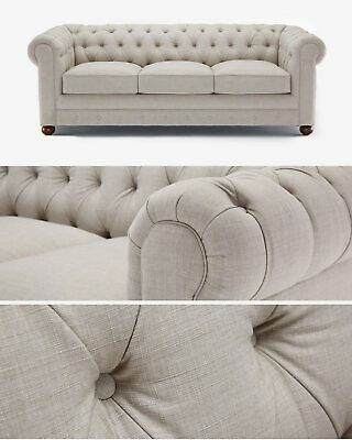 Modern Classic Chesterfield Sofa Linen 3 2 1 Seater Couch Settee Silver Grey Classic Chesterfield Sofa Chesterfield Sofa Blue Fabric Sofa