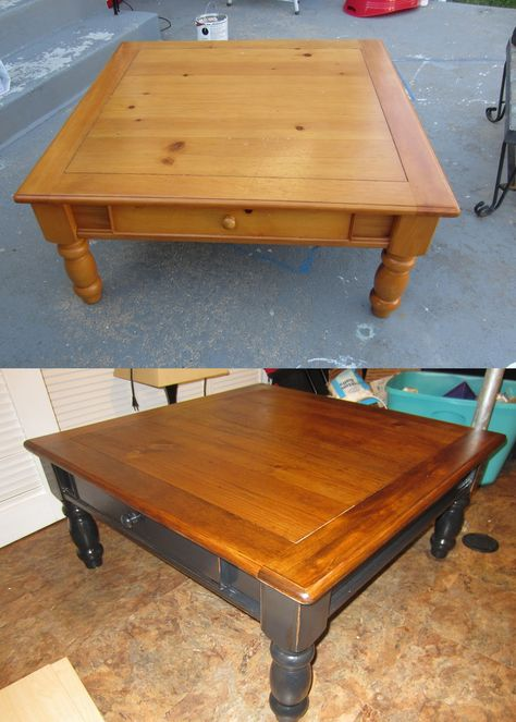 DIY farmhouse coffee table makeover I could do this with the coffee
