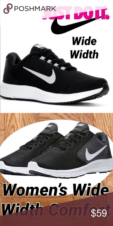 acb52c67a71c New Women s Nike Sneaker in Wide Width ❤ ❤ ❤ ❤ ❤ Beautiful in Black with  White in a Nike sneaker 👟 that comes in  Wide Width .