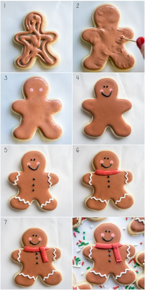 Step by step to making gingerbread men sugar cookies. - The Trick to Making Your Very Own Candy Corn Cookies PressingDoughforCandyCornCookies Christmas Gingerbread Men, Gingerbread Man Cookies, Christmas Sugar Cookies, Christmas Sweets, Christmas Cooking, Holiday Cookies, Gingerbread Houses, Decorating Gingerbread Cookies, Gingerbread Icing