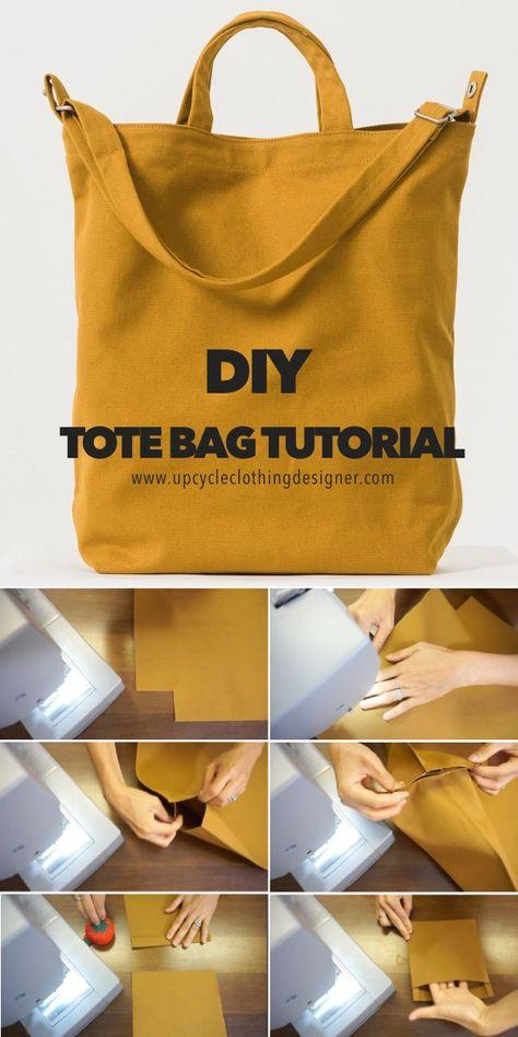 DIY Tote Bag Tutorial (Free Bag Pattern and Video!) Sacs Tote Bags, Diy Tote Bag, Diy Pouch Bag, Best Tote Bags, Diy Purse, Bag Patterns To Sew, Tote Pattern, Sewing Patterns, Free Tote Bag Patterns