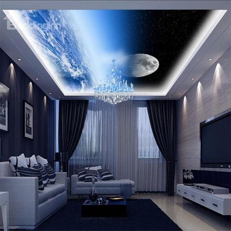 3D Round Moon Printed PVC Waterproof Sturdy Eco-friendly Self-Adhesive Ceiling Murals