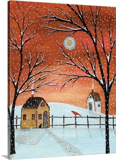 Winter Cabins Art Painting Art American Folk Art