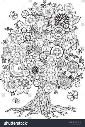 Blossom Tree Vector Elements Coloring Book For Adult Doodles