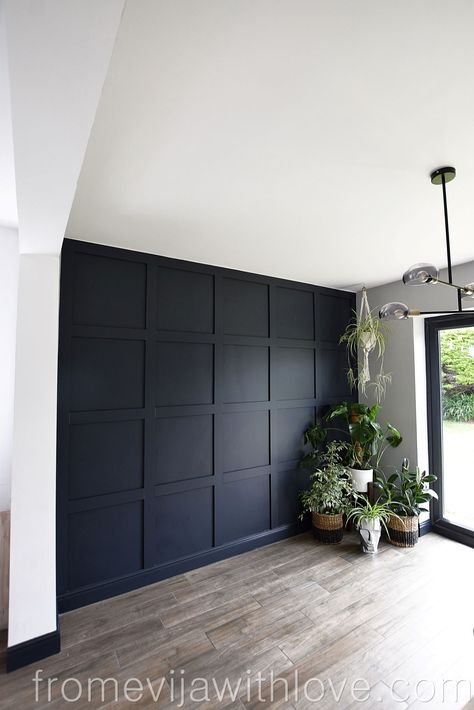 How to Make a Statement Panel Wall using Adhesive Statement . - Lounge Reno - How to Make a Statement Panel Wall using Adhesive Statement Panel Wall Farrow a - Living Room Decor, Bedroom Decor, Bedroom Wall Designs, Accent Wall Designs, Master Bedroom Design, Bedroom Ideas, Diy Living Wall, Accent Wall In Bedroom, Blue Feature Wall Bedroom