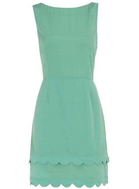 Mint dress, scalloped edge