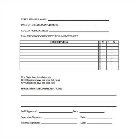 Employee Write Up Forms Word Excel Fomats Word Template