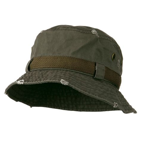 08d5367b929e54 Big Size Frayed Cotton Washed Bucket Hat - Olive | 鞋子 in 2019