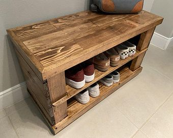 Reclaimed Wood Shoe Rack Bench Entryway Shoe Organizer Etsy In 2020 Shoe Rack Bench Wood Shoe Rack Bench With Shoe Storage