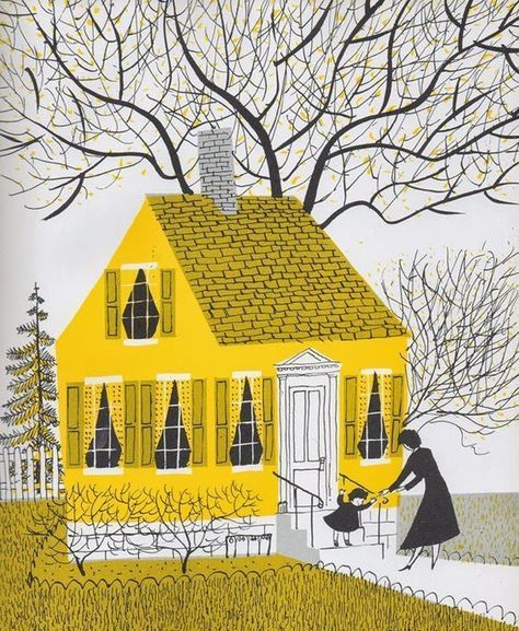 """Step into Maggie Dietz's """"The Yellow House, is part of Illustration - The kitchen is where we deal with the elements of the universe It is where we come to understand our past and ourselves """" ~ Laura Esquivel Which room in your house says the mos… Art And Illustration, Vintage Illustrations, Illustration Children, Design Illustrations, Creative Illustration, Portrait Illustration, Fashion Illustrations, Illustrations Posters, Art Watercolor"""