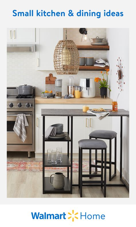 Create more room in tight quarters with Walmart's high-quality, compact dining room tables, kitchen appliances, and more. Find lots of easy ways to maximize your small home.  #WalmartHome