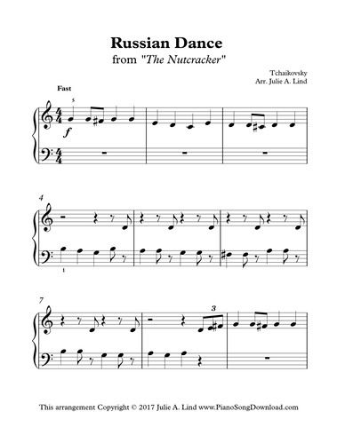 Russian Dance From The Nutracker Free Piano Sheet Music