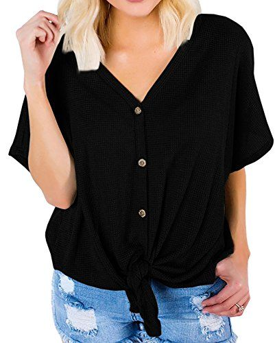Womens V Neck Long Sleeve Button Down T Shirts Tie Front Casual Henley Tops