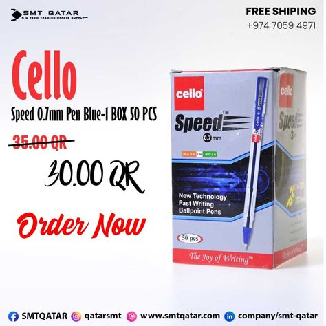 Cello Pen Blue with free shipping all over Qatar.
