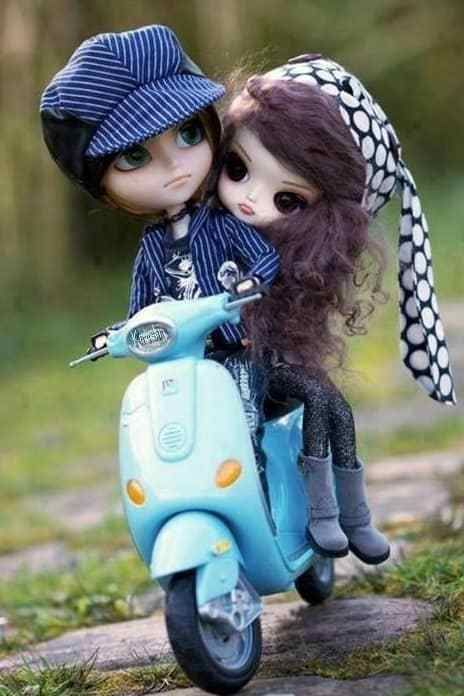 Barbie Doll Love Couple With Scooter Ride Mobile Wallpaper Cute