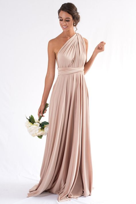 Luxe Satin Ballgown Multiway Infinity Dress in Light Gold Luxe Multiway Infinity Dress in Light Gold