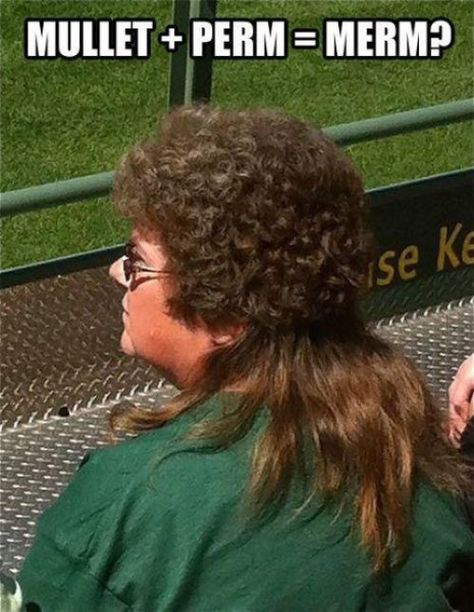 The merm = mullet + perm.new hair idea! Lol don't need the perm just straighten the back.