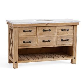 Benchwright Double Sink Console Wax Pine Finish At Pottery