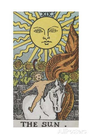 Tarot Card With a Young Child Riding a White Horse With Large Sunflowers and Sun Behind Giclee Print by Arthur Edward Waite at AllPosters.com