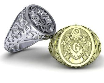 Past Master Masonic ring with floral leaf work design solid