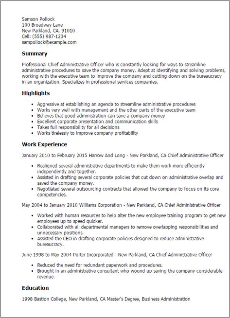 Resume Templates Chief Administrative Officer Resume Resume
