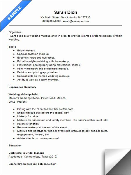 Makeup Artist Resume Examples Awesome Wedding Makeup Artist Resume Sample In 2020 Makeup Artist Resume Artist Resume Freelance Makeup Artist Business
