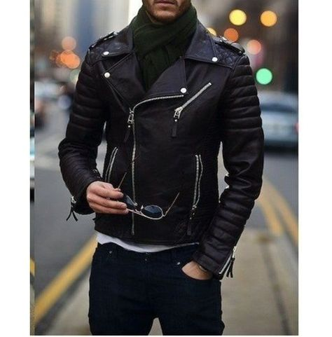 Men's Biker Leather Jacket, Men's Fashion Black Motorcycle Jacket, Men's Jackets Brand Leather Edges Country/Region of Manufacture Pakistan Running Size USA true Size Material Lea…