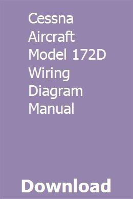 Cessna Aircraft Model 172d Wiring Diagram Manual Cessna Aircraft