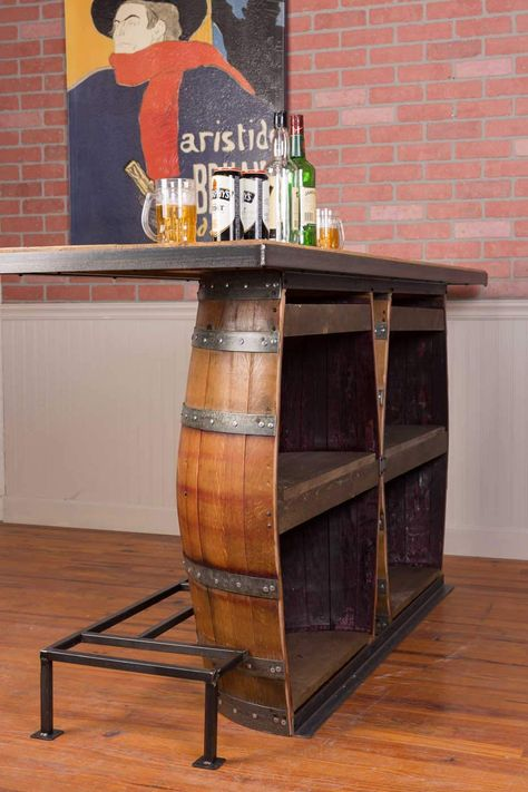 Barrel Decor, Diy Home Bar, Decor, Whiskey Room, Barrels Diy, Barrel Bar, Home Bar Designs