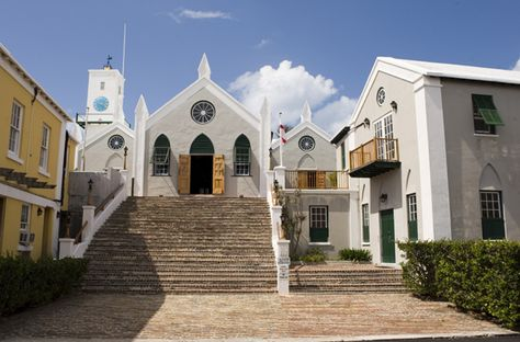 St. George's, Bermuda, with its Gothic ruins, 18th-century mansions, and beautiful old churches, feels like a slice of the Old World in the Atlantic. But the town's colorful houses decked out in turquoise, pink, and white—plus its sweeping seascapes—will remind you that you're on an island. (Photo: Bermuda Department of Tourism)