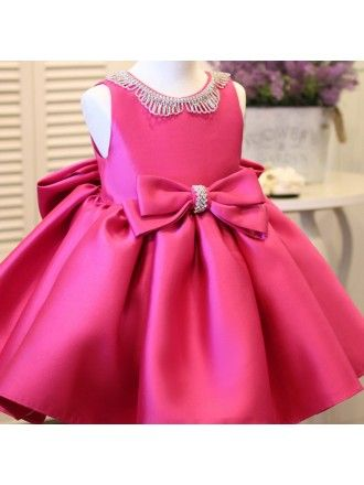 24d087a2d65e0 Fuchsia Satin Formal Flower Girl Dress With Bling Big Bows | baby ...